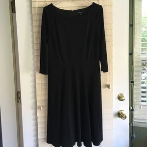 Ann Taylor Fit and Flare Black Dress- 10